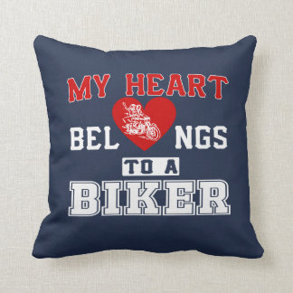 My heart belongs to a Biker Throw Pillow