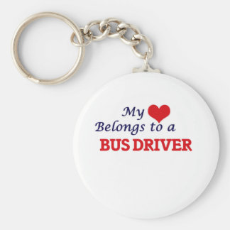 My heart belongs to a Bus Driver Basic Round Button Keychain