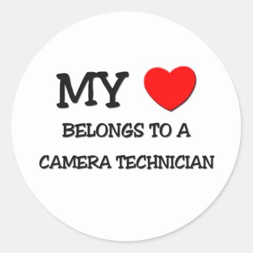 My Heart Belongs To A CAMERA TECHNICIAN Round Sticker