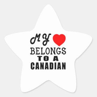 My Heart Belongs To A Canadian Star Sticker