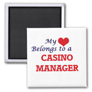 My heart belongs to a Casino Manager Square Magnet