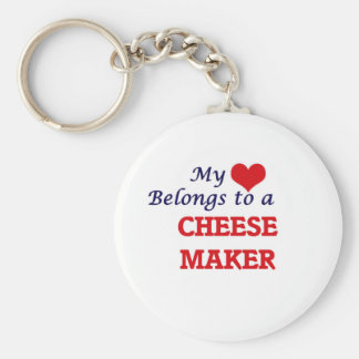 My heart belongs to a Cheese Maker Basic Round Button Keychain