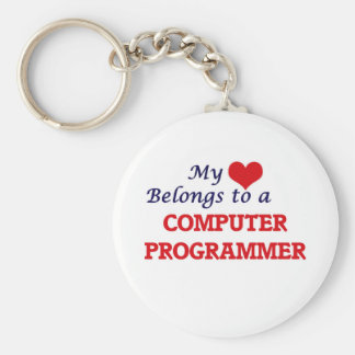 My heart belongs to a Computer Programmer Basic Round Button Keychain