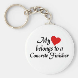 My heart belongs to a Concrete finisher Basic Round Button Keychain