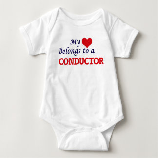 My heart belongs to a Conductor Baby Bodysuit