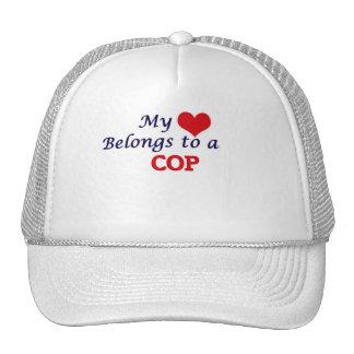 My heart belongs to a Cop Trucker Hat
