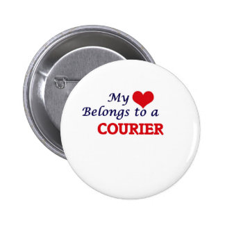 My heart belongs to a Courier 2 Inch Round Button