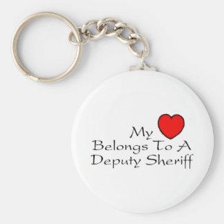My Heart Belongs To A Deputy Sheriff Keychain