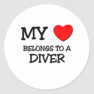 My Heart Belongs To A DIVER Round Sticker