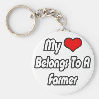 My Heart Belongs To A Farmer Keychain