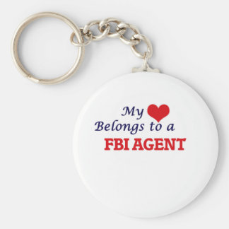 My heart belongs to a Fbi Agent Basic Round Button Keychain