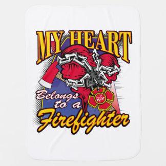 My Heart belongs to a Firefighter Baby Blanket