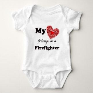 My Heart Belongs To A Firefighter Baby Bodysuit