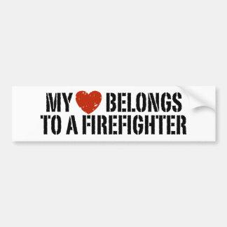 My Heart Belongs To A Firefighter Bumper Stickers