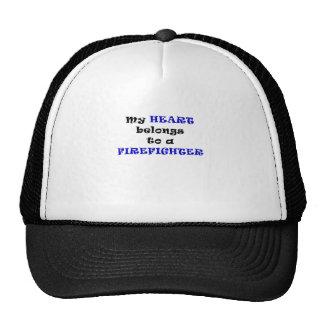My Heart Belongs to a Firefighter Mesh Hats
