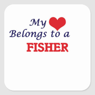 My heart belongs to a Fisher Square Sticker