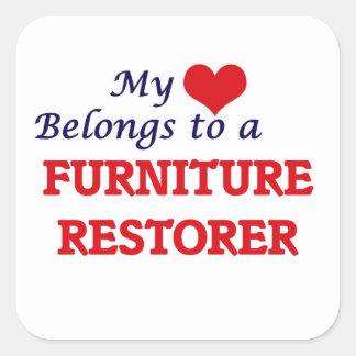 My heart belongs to a Furniture Restorer Square Sticker