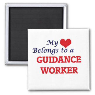 My heart belongs to a Guidance Worker Square Magnet