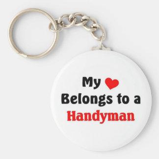 My heart belongs to a Handyman Basic Round Button Keychain