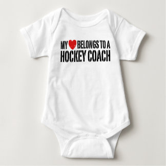 My Heart Belongs To A Hockey Coach Baby Bodysuit
