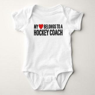 My Heart Belongs To A Hockey Coach Baby Bodysuit
