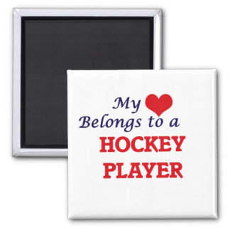 My heart belongs to a Hockey Player Magnet