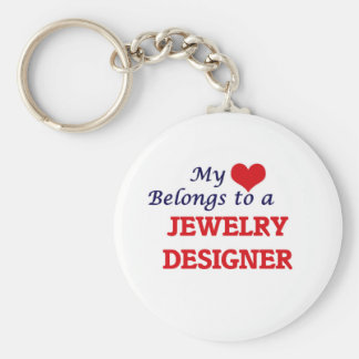 My heart belongs to a Jewelry Designer Basic Round Button Keychain