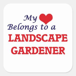 My heart belongs to a Landscape Gardener Square Sticker