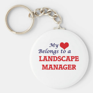 My heart belongs to a Landscape Manager Basic Round Button Keychain