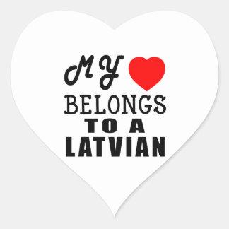 My Heart Belongs To A Latvian Heart Sticker