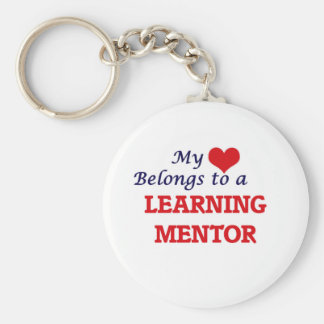 My heart belongs to a Learning Mentor Basic Round Button Keychain