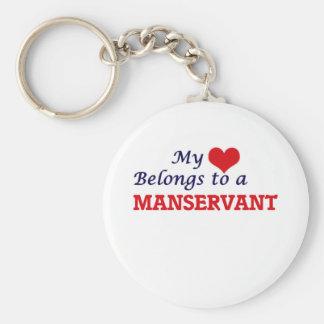 My heart belongs to a Manservant Basic Round Button Keychain