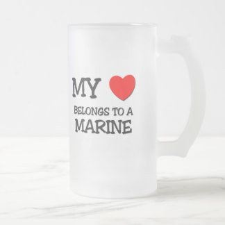 My Heart Belongs To A MARINE Frosted Glass Beer Mug