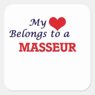 My heart belongs to a Masseur Square Sticker