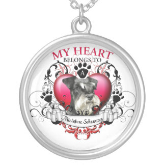 My Heart Belongs to a Miniature Schnauzer Silver Plated Necklace