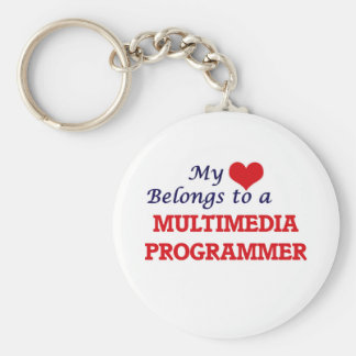 My heart belongs to a Multimedia Programmer Basic Round Button Keychain
