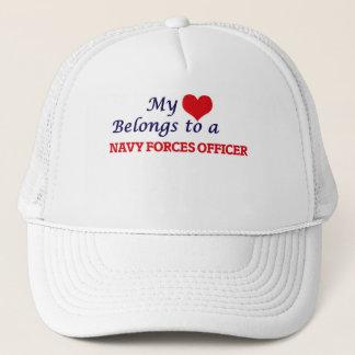 My heart belongs to a Navy Forces Officer Trucker Hat