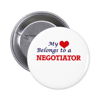 My heart belongs to a Negotiator 2 Inch Round Button