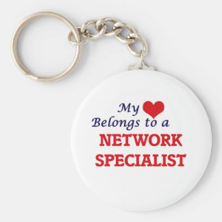 My heart belongs to a Network Specialist Basic Round Button Keychain