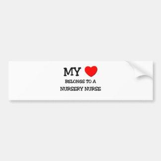 My Heart Belongs To A NURSERY NURSE Bumper Sticker