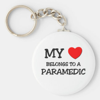 My Heart Belongs To A PARAMEDIC Basic Round Button Keychain