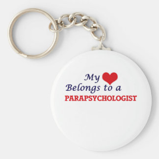 My heart belongs to a Parapsychologist Basic Round Button Keychain