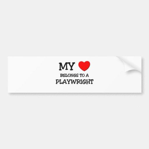 My Heart Belongs To A PLAYWRIGHT Bumper Sticker