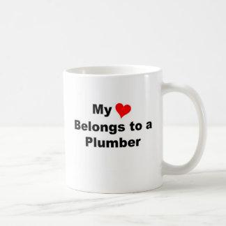 My heart belongs to a plumber coffee mug
