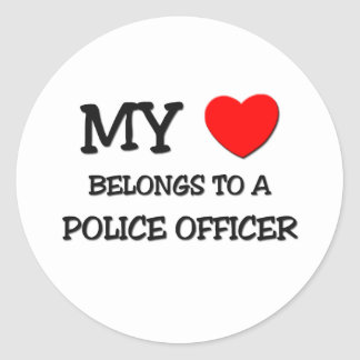 My Heart Belongs To A POLICE OFFICER Classic Round Sticker