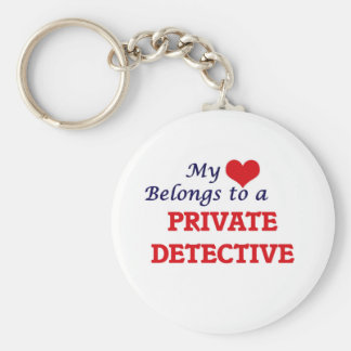 My heart belongs to a Private Detective Basic Round Button Keychain