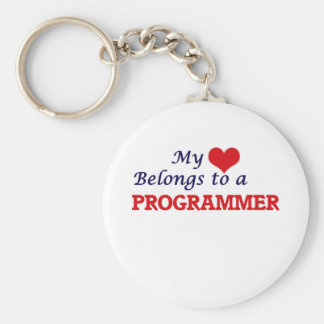 My heart belongs to a Programmer Basic Round Button Keychain