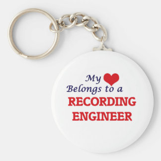 My heart belongs to a Recording Engineer Basic Round Button Keychain