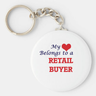 My heart belongs to a Retail Buyer Basic Round Button Keychain