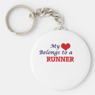 My heart belongs to a Runner Basic Round Button Keychain
